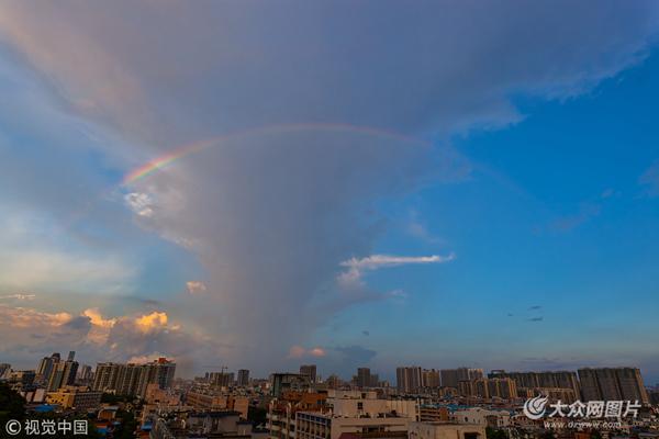雨后广州天空出现双彩虹