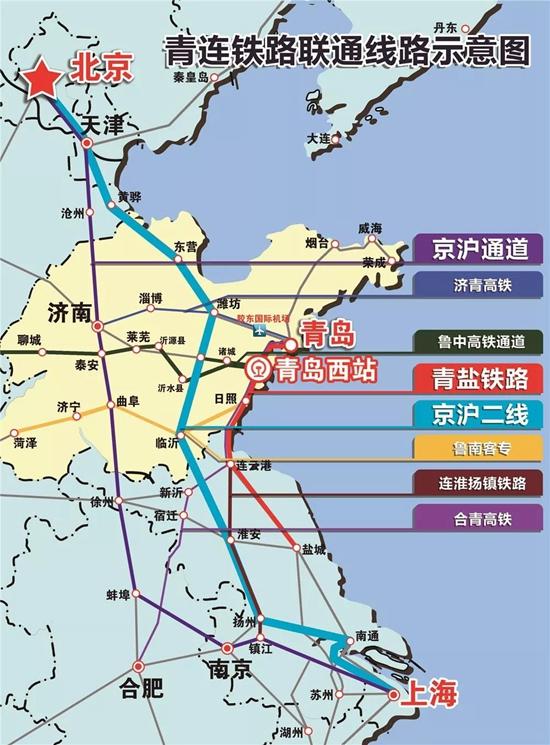 未来从青岛西站出发可2小时到达京津冀