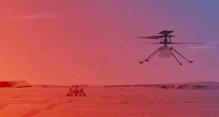 """美国""""毅力号""""传回火星直升机登陆画面"""