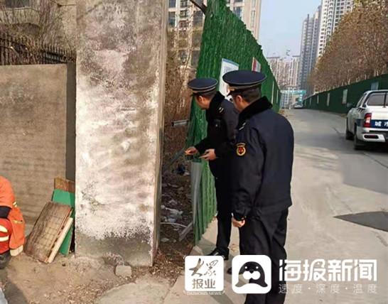 临沂北城开展工地围挡专项整治 已查工地17家