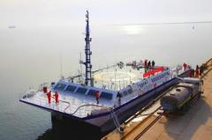 山东第一条军民融合产业科考船在威海首航