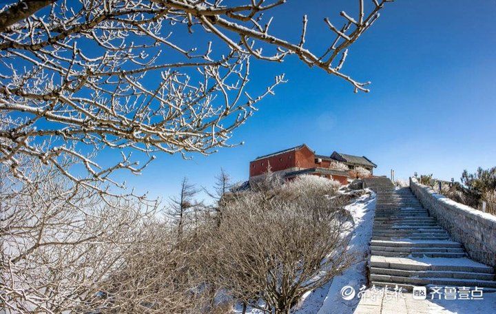 春雪初霁 泰山顶上白雪皑皑