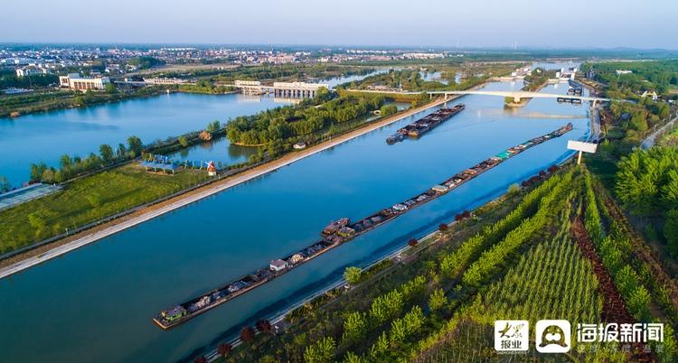 枣庄:京杭运河景观带景色靓丽