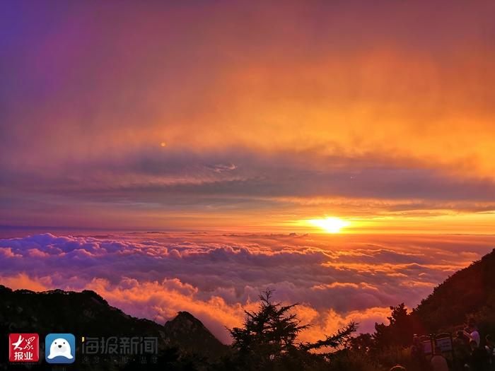 彩虹、云海齐现身 今晨泰山之巅美轮美奂