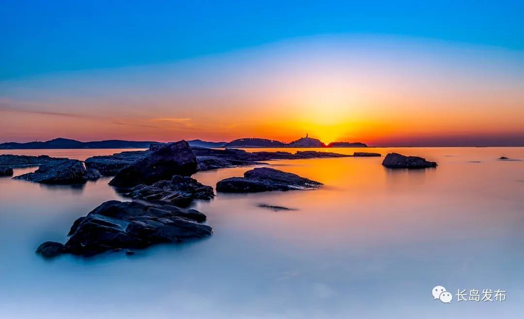 海岛的冬日霞光