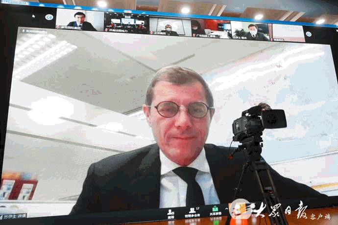(2月25日,山东省举行重点外商投资项目视频集中签约仪式 图片来源:大众日报)
