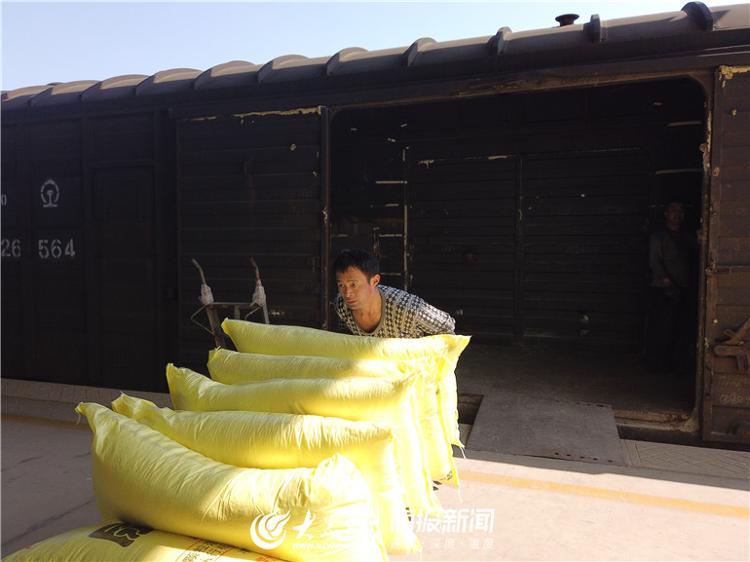 工人将尿素搬运至仓库