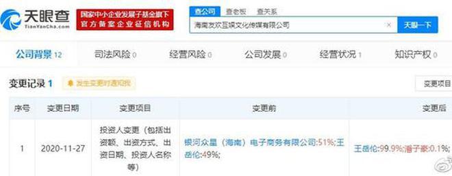 李湘关联公司投资人变更 老公王岳伦成最大股东