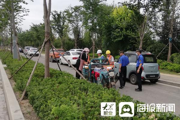 临沂高铁站区域大队:前置服务解决工地周边摊贩聚集问题